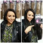"Martine McCutcheon with her 14"" VIP Tresses Russian/Mongolian Remy Hair Extensions weaved in"